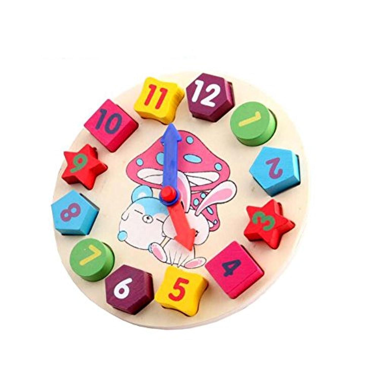NOQクロック形状ブロックおもちゃ/子供木製教育玩具