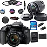 Canon EOS 800D/Rebel T7i Digital SLR Camera with 18-55 is STM Lens Black - Deal-Expo Essential Accessories Bundle