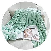レッド編みボンボン毛布北欧綿毛布防寒毛布毛布,100×150cm(14ボンボン),ボンボンカーペット(ミントグリーン)