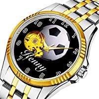 時計、機械式時計 メンズウォッチクラシックスタイルのメカニカルウォッチスケルトンステンレススチールタイムレスデザインメカニ (ゴールド)-198. ブラックストラップサッカーボール腕時計