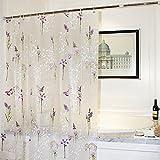 wendana シャワーカーテン バスカーテン 防カビ 幅180cmx丈180cm おしゃれ 優しい花柄 半透明 パープル PVC