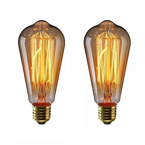 エジソン電球60W KINGSO 2個入E26 110V ST64-19アンカー ヴィンテージ アンティークスタイル タングステン フィラメント電球 タングステン ガラスライト ホーム照明 装飾用器具