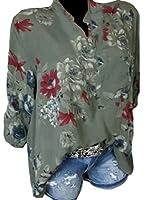 Qiangjinjiu 女性の3 / 4スリーブカジュアルVネックボタンアップTシャツトップ花プリントブラウス Green XL