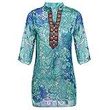 MIOIM レデイース シフォンシャツ 民族風 花柄 トップス 半袖 夏 薄透かし エアコンシャツ 体型カバー カジュアル フェミニン ブラウス