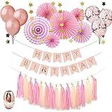 MAIKEHIGH 誕生日バースデー 飾り バースデーパーティー デコレーション ペーパーファン バースデー ガーランド デコレーション Happy Bithday Party きらきら風船 コンフィッティ入りバルーン (ピンク)