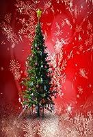 ケイト5x 7ftレッドスノーフレーククリスマスツリー写真バックドロップ背景パーティ用
