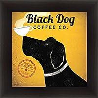 Buyartforless場合wa 1000012x 12wespresso 1.5ガラスフレーム付きブラック犬コーヒー。Co。By Ryan Fowler 12x 12アートプリントポスターLabradorコーヒーカップWideエスプレッソ