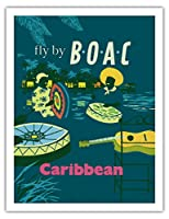 カリブ海 - カリブのスチール・ドラマー - BOAC (英国海外航空)でそこへ飛ぶ - ビンテージな航空会社のポスター c.1954 - アートポスター - 51cm x 66cm