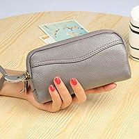 財布 女性のハンドバッグ財布のハンドバッグダブルジッパー女性 レジャー財布 ( Color : Gray )