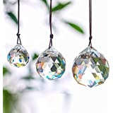 Set of 3 Clear Crystal Ball Includes 20/30/40mm Faceted Prism Balls Suncatcher for Ceiling Lighting Chandelier Hanging Decorating