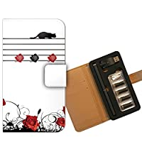 プルームテック ケース PloomTECH 手帳型 バラ B000402_02 薔薇 猫 楽譜 音符 かわいい