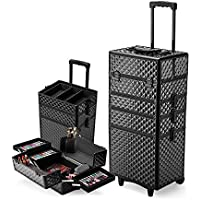 Effleur 7in1 Diamond Textured Portable Cosmetics Makeup Trolley Case, Black