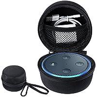 Amazon Echo Dot ケース アマゾンエコー ドット カバー 収納バッグ オックスフォード製 耐衝撃 落下防止 キズ防止 全面保護 USBケーブルと充電器の収納可能 シンプル キャリングケース ストラップ&カラビナ付き (黒)