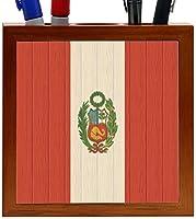 Rikki Knight Peru Flag on Distressed Wood Design 5-Inch Wooden Tile Pen Holder (RK-PH8769) [並行輸入品]