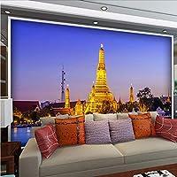Weaeo 壁紙リビングルームの背景装飾用のカスタム3D写真のヨーロッパの近代建築エッフェル塔ナイト・ウォールミューラル-400X280Cm