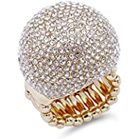 Lavencious Snowball Rhinestone Cocktail Stretch Ring Party Ring for Women Free Sizes for 6 to 10