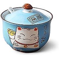 Ceramics Maneki Neko Japanese Lucky Catシュガーボウル蓋、スプーンパープル 4