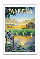 マデラ(サン・ホアキン・バレー)・ワイナリー - セントラルヴァレーAVAブドウ園 - カリフォルニアワインカントリーアート によって作成された カーン・エリクソン - プレミアム290gsmジークレーアートプリント - 61cm x 91cm