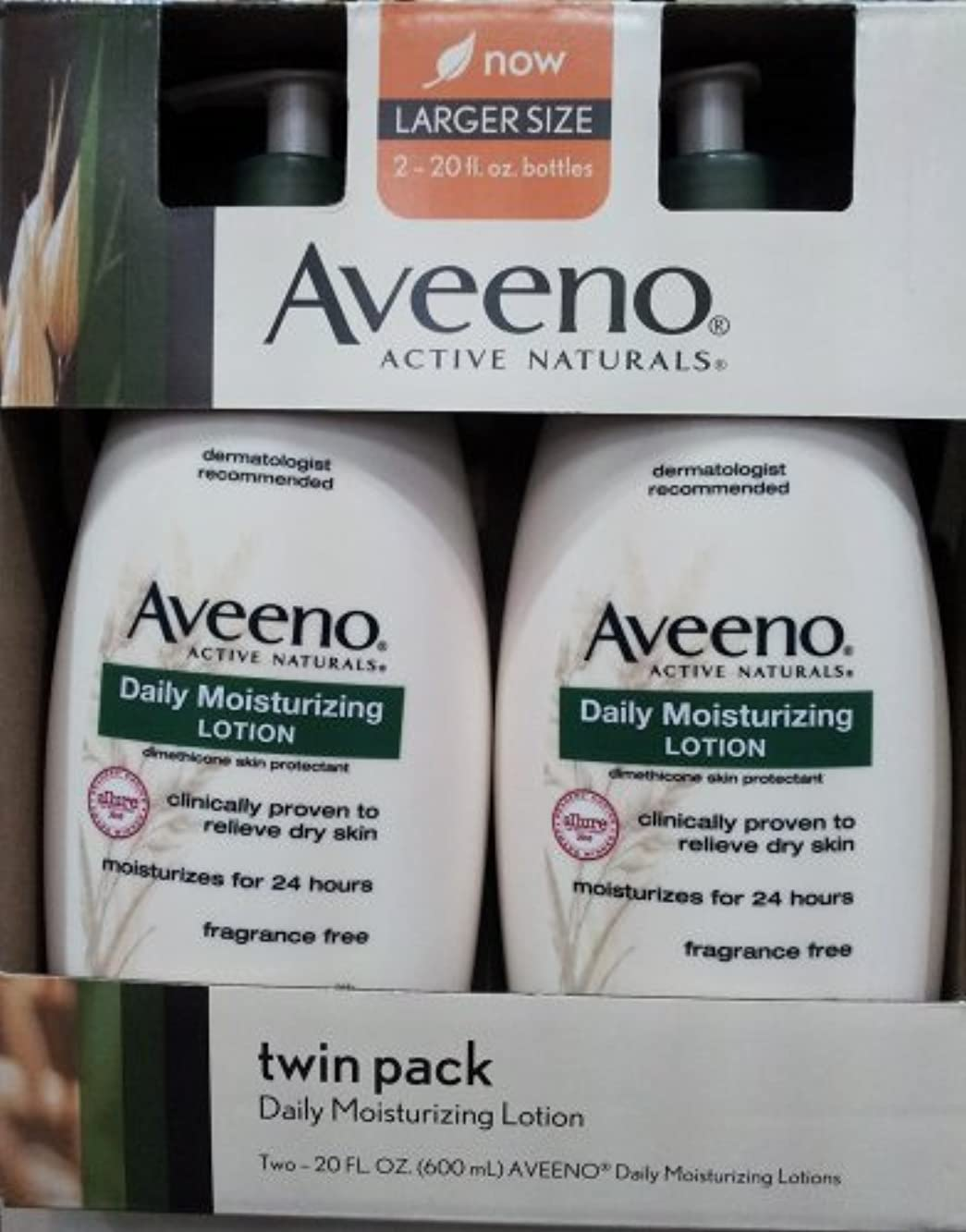 無意識乞食受粉するAveeno Active Naturals Daily Moisturizing Lotion, NEW 2 pack of 20 FL oz Pump [並行輸入品]