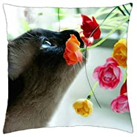 catts cute animals flowers cool - Throw Pillow Cover Case (18 [並行輸入品]