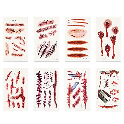 KUUQA ハロウィン コスプレ コスチューム用小物 傷シール 傷メイク 特殊メイク ゾンビメイク タトゥーシール ボディシール 8種類 8枚セット (噛み跡、銃創、掻き傷、切り傷、縫跡バラエティーセット)