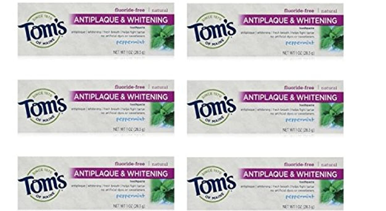 容赦ない販売員おんどりTom's of Maine Natural Antiplaque Tartar Control & Whitening Toothpaste Peppermint 1 oz Travel Size by Tom's of...