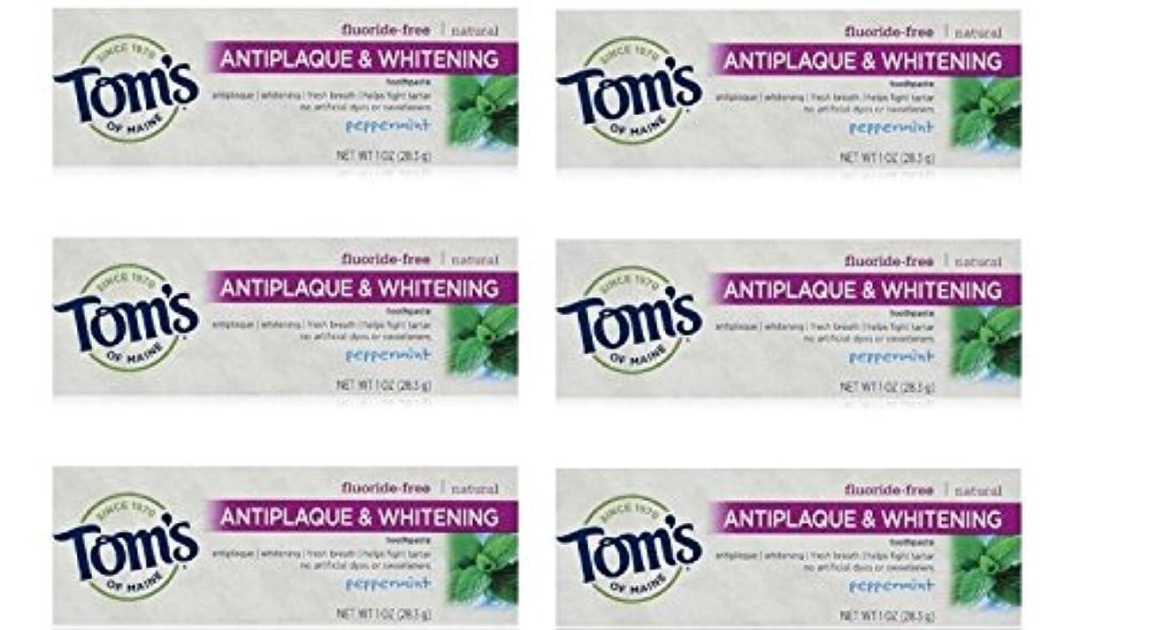 延ばす負担アブストラクトTom's of Maine Natural Antiplaque Tartar Control & Whitening Toothpaste Peppermint 1 oz Travel Size by Tom's of...