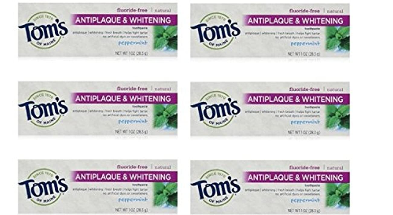アクチュエータ息を切らして不道徳Tom's of Maine Natural Antiplaque Tartar Control & Whitening Toothpaste Peppermint 1 oz Travel Size by Tom's of Maine