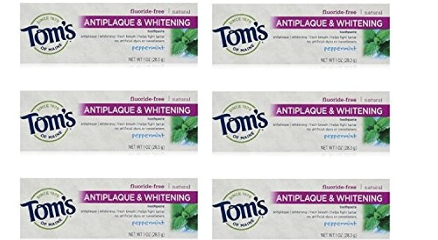 グリース小包差別Tom's of Maine Natural Antiplaque Tartar Control & Whitening Toothpaste Peppermint 1 oz Travel Size by Tom's of...