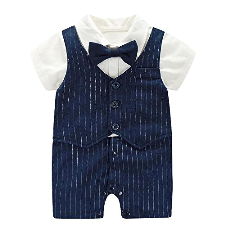 エルフ ベビー(Fairy Baby) ベビーフォーマル半袖 夏用ロンパース 結婚式服 男の子73cm 紺色ストライプ