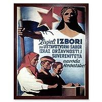 Propaganda Political Tito Yugoslavia Election Red Star Communism Art Print Framed Poster Wall Decor 12X16 Inch 宣伝政治的な星共産主義ポスター壁デコ