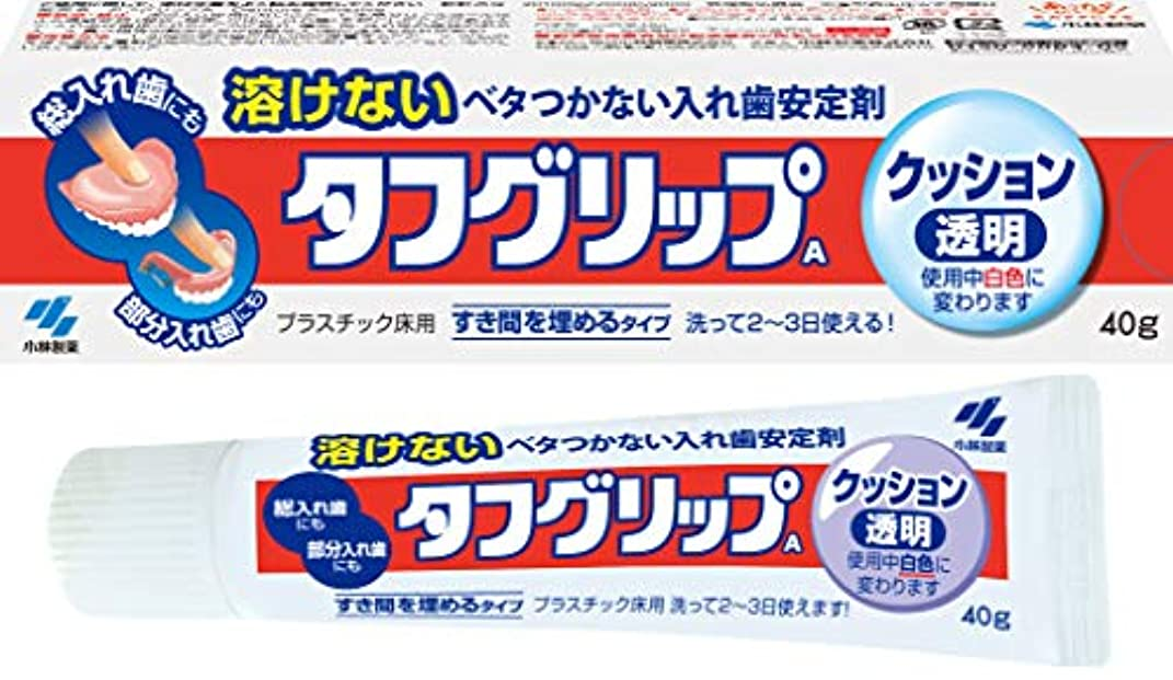 船外口ひげテザータフグリップクッション 透明 入れ歯安定剤(総入れ歯?部分入れ歯) 40g