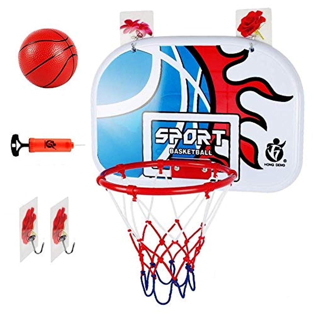連鎖代替苦しむドアマウントの飛散防止バックボードを備えたミニバスケットボールフープ、ボールとポンプを含む、子供と大人用の親子ゲームバスケットボールシステム46.5x32.5cm