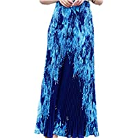 Medeshe Women's Bohemian Style Floral Elastic Waist Swing Pleated Maxi Skirts