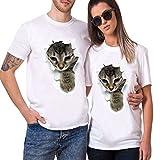 POTOJP Tシャツ カップル服 面白い 穴を破る 猫ちゃん柄 薄手 メンズ 男: 登ってきた猫 M