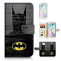 Samsung Galaxy ( S6 Edge ) Flip Wallet Case Cover & Screen Protector Bundle! A20058 Batman Super Hero