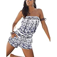 Fantasy Star Women's Sexy Off Shoulder Swimsuit Blue and White Geometric Pattern Strapless Romper Beach Short Jumpsuit Romper Overall