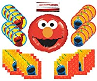Sesame Street Birthday Party Supplies Bundle Pack for 16 (Bonus 18 Inch Elmo Balloon Plus Party Planning Checklist by Mikes Super Store) [並行輸入品]