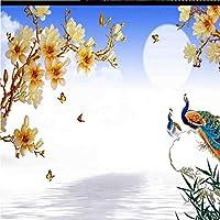 LJJLM カスタム大規模な壁画カラー彫刻マグノリア背景壁生地壁紙-120X100CM