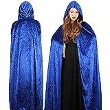 ギアード(GearD) 魔女 コスチューム 衣装 フード付 藍 ハロウィン 死神 仮装 コスプレ マント ブレスレット セット (3.ブルー・セット:130cm)