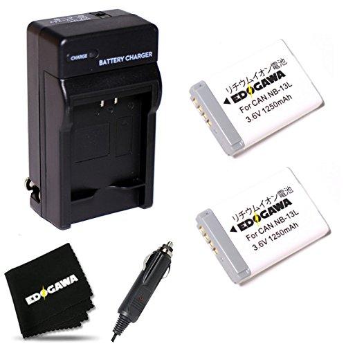 EDOGAWA  2個+充電器 CANON キャノン NB-13L対応互換バッテリー  ED-2BAT+JDK