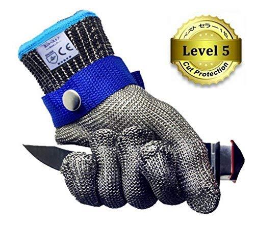 防刃手袋 100%ステンレス 鋼メッシュ 作業用手袋 耐切創レベル5 グローブ 軍手