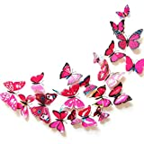 Butterfly Wall Decal Removable Refrigerator Magnets Mural Stickers 3D Wall Stickers for Kids Home Room Nursery Decoration Wal