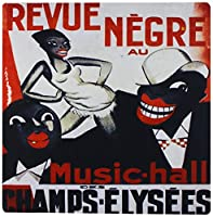 3drose LLC 8x 8x 0.25インチFrench African Art Deco音楽ポスターマウスパッド( MP _ 153768_ 1)