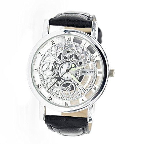 メンズ 機械式 ホロウ スケルトン アナログ 腕時計 ブラック レザーバンド-シルバー