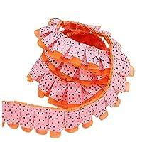 KOLIGHT 21ヤード幅4.5センチドット花柄レースクラフトフリンジトリムウェディングパーティー人形スカートドレス装飾 (橙)