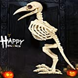 Bone Color Skeleton Raven100% Plastic Animal Skeleton Bones for Horror Creepy Halloween Decoration Event & Party Supplies