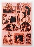 ヴィンテージクリスマスパック5 ~ クリアスタンプ 18x24cm) // Vintage Christmas Pack 5 ~ Large Sheet 18x24cm FLONZ