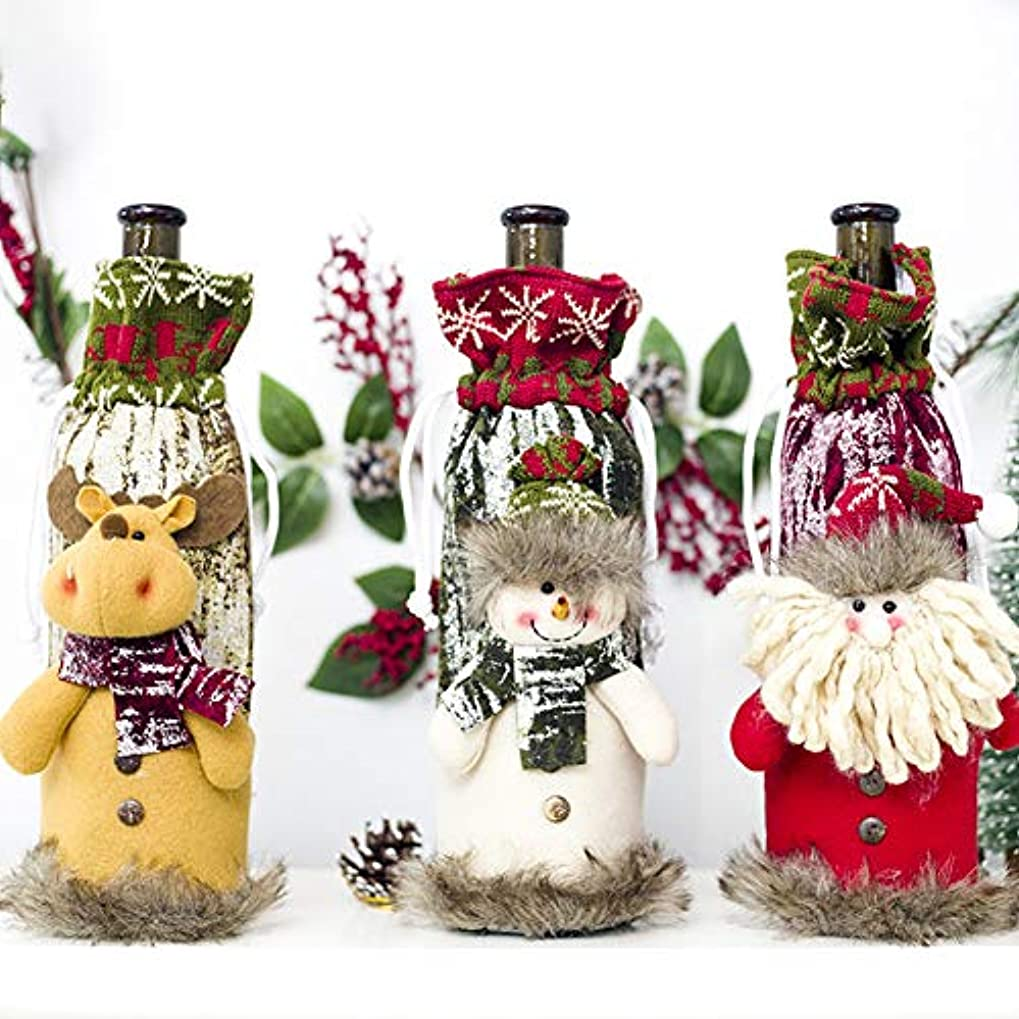 MeterMall ひものワインボトルカバークリスマスデコレーションストレージバッグのシャンパンボトルバッグ