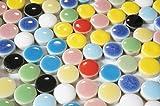 モザイクタイル 10㎜ かわいい 丸 型 セラミック(陶器) 11色 カラフル マルチカラー ミックス (日本製) クラフト ハンドメイド に (300g、約420個)
